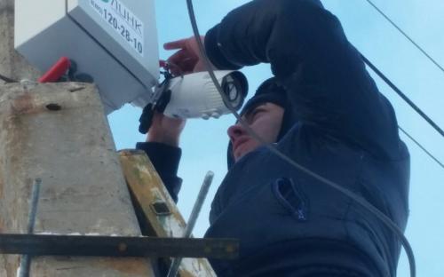 Креплении IP  камеры на столбе